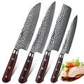 HEZHEN 4 шт. набор профессиональных кухонных ножей для приготовления пищи дамасский шеф-повар Santoku нож для овощей Ножи из нержавеющей стали