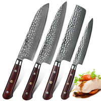 HEZHEN 4 PCS Professional Cooking Kitchen Knives Set Damascus Chef Santoku Paring Vegetable Meat Cleaver Stainless Steel Knives