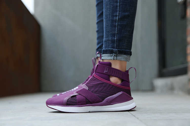 12a0c00add59d Puma Women s Trainners Rihanna Fierce Strap Swan Female s Sneakers Suede  Satin Badminton Shoe Cute Purple Color