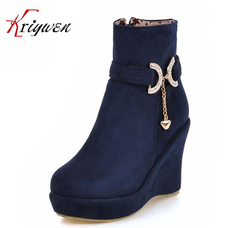 Big size 34-43 Autumn winter Fashion women Ankle Boots females zipper Motorcycle shoes Wedding rhinestone party martin boots