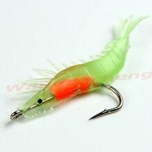 60mm 3g Noctilucent Soft Silicone Fishing Baits with Hook fishhooks Prawn Shrimp Fishing  Hook New