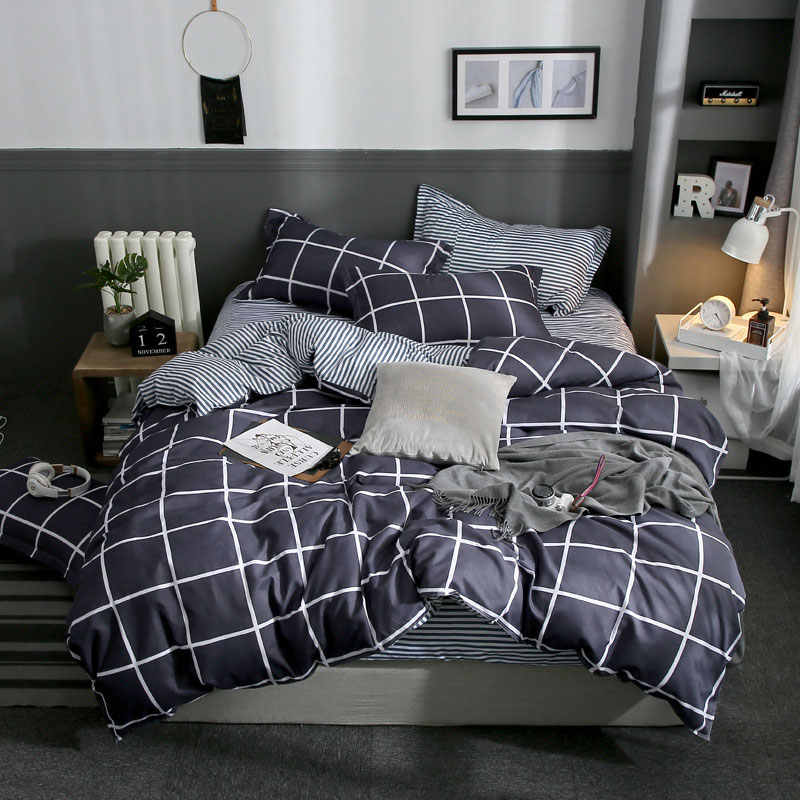 Star Plaids Geometric Owl 4pcs Bed Cover Set Cartoon Duvet Cover Bed Sheets And Pillowcases Comforter Bedding Set 61001