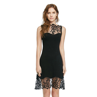 New Bodycon Flower Lace Dress Sleeveless O Neck Black Sexy Slim Dress Vestido Short Evening Women