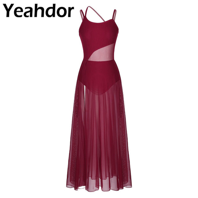 Womens Spaghetti Strap Sleeveless Asymmetrical Mesh Maxi Dance Dress with Built In Leotard Lyrical Performance Dance Class Dress