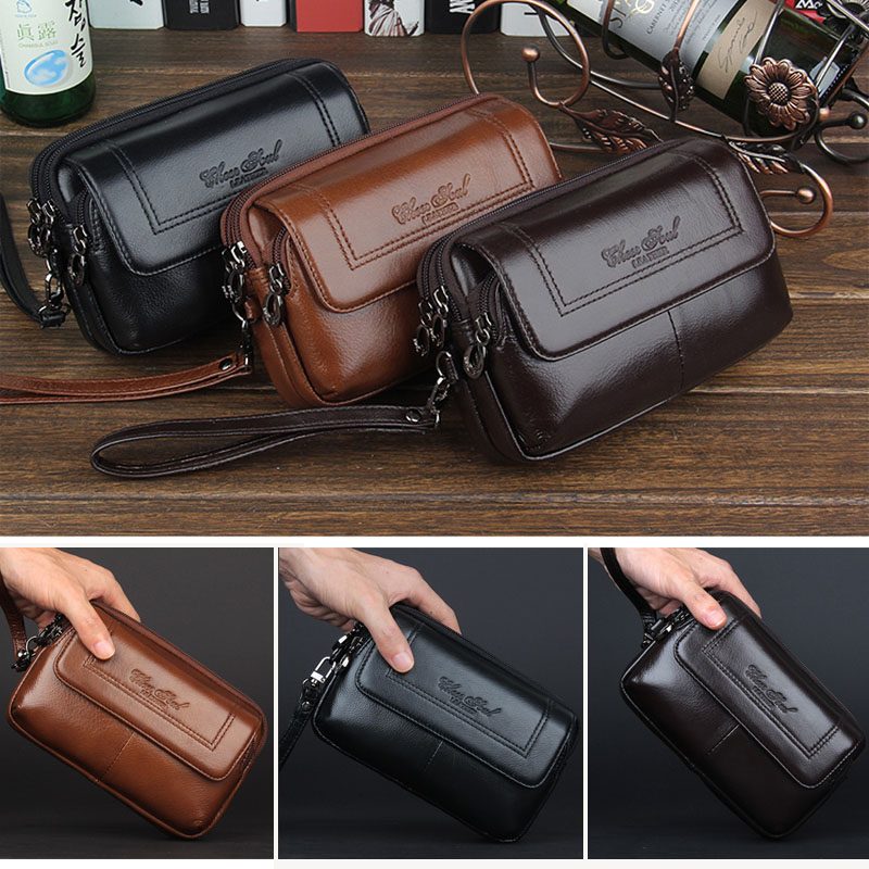 Hot Sale Genuine Leather Men Cell/Mobile Phone Case Bag Fashion Trend Clutch Wrist Hand Bags Fanny Belt Purse Pouch Waist Pack