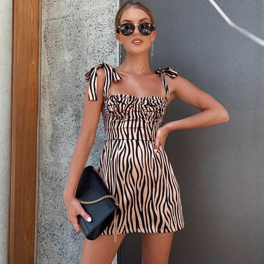 Macheda Women Fashion Slim Zebra Print Dress Sleeveless Adjustable Spaghetti Strap Bodycon Casual Vestidos Dress 2019 New