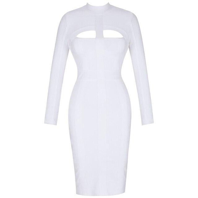 Women White Bandage Dress Bodycon Sexy Cut Out High Neck Long Sleeve Party Rayon Bandage Midi Dress 5