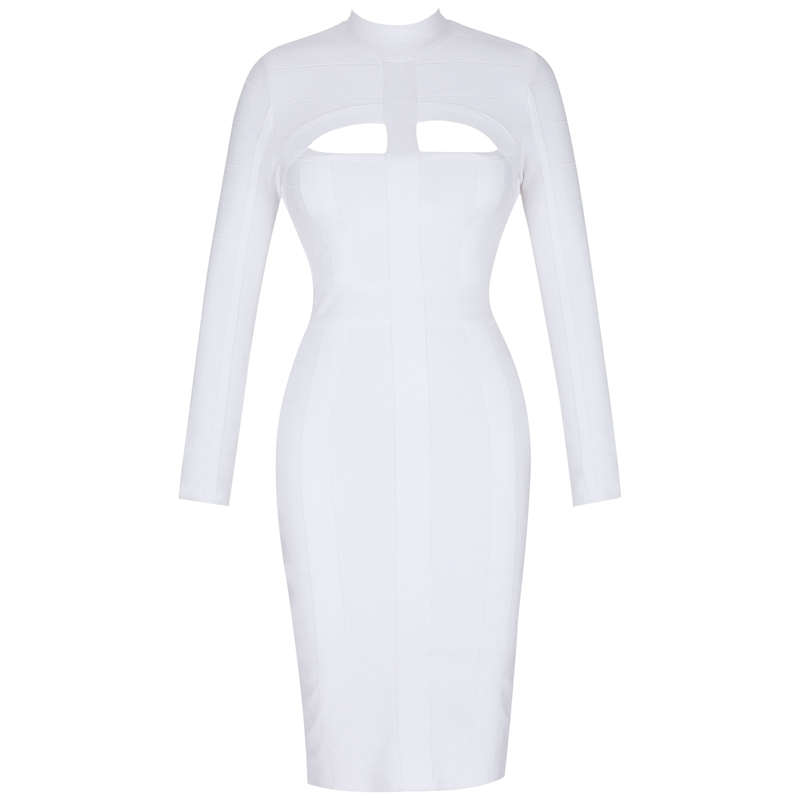 Ocstrade Women White Bandage Dress Bodycon 2019 New Arrivals Sexy Cut Out High Neck Long Sleeve Party Rayon Bandage Midi Dress in Dresses from Women 39 s Clothing