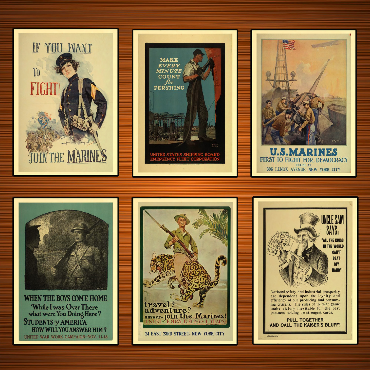 Vintage 1910s USA WW1 Propaganda Poster Join The Marines Classic Canvas Paintings Wall Stickers Home Decor Gift image