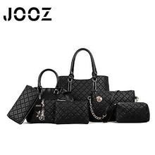 JOOZ Brand Luxury Diamond Plaid Lady Handbag 6 Pcs Composite Bags Set Women Shoulder Crossbody Bags Purse Clutch Wallet Card Bag