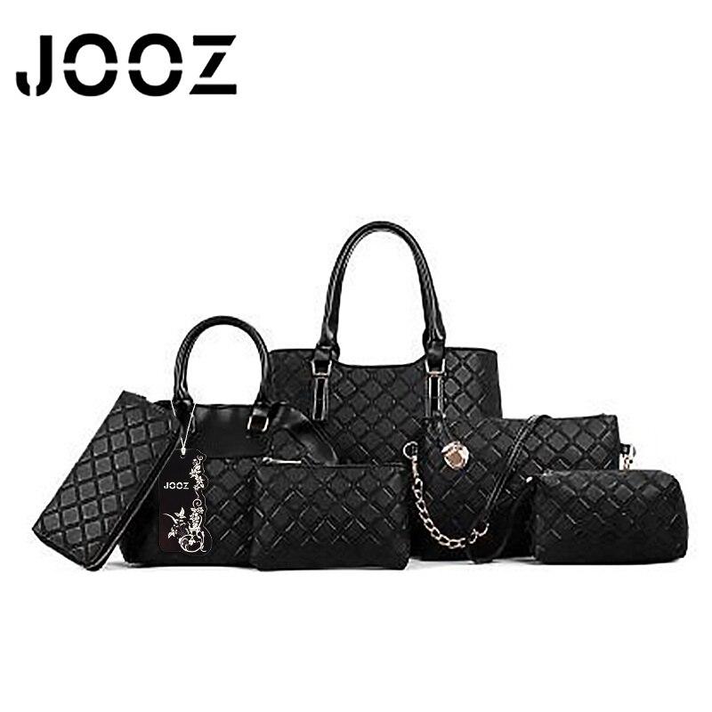 ФОТО JOOZ Brand Luxury woman Diamond Lattice bag Lady Handbag 6 Pcs Composite bags Set Women Shoulder Crossbody Bags Purse Clutch