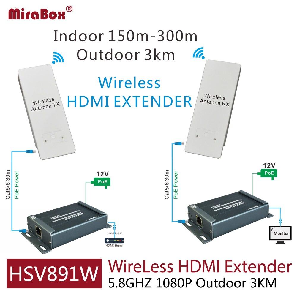 HSV891W 1080 p 5.8 ghz sans fil hdmi extender avec audio extracteur comprennent émetteur et récepteur peut étendre 3 km en plein air