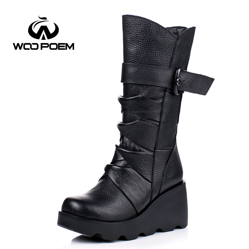 WooPoem 2016 New Winter Shoes Women Cow Leather Breathable Shoes High Heel Mid-Calf Boots Genuine Leather Women Boots 8671 kelme 2016 new children sport running shoes football boots synthetic leather broken nail kids skid wearable shoes breathable 49