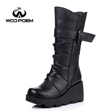 WooPoem 2016 New Winter Shoes Women Cow Leather Breathable Shoes High Heel Mid-Calf Boots Genuine Leather Women Boots 8671