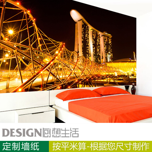 Singapore city night 3d wallpaper for living room bedroom office tv personalized custom background wall paper
