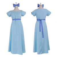 Movie Peter Pan and Wendy Darling Costume Wendy Blue dress Role Play costume with headwear