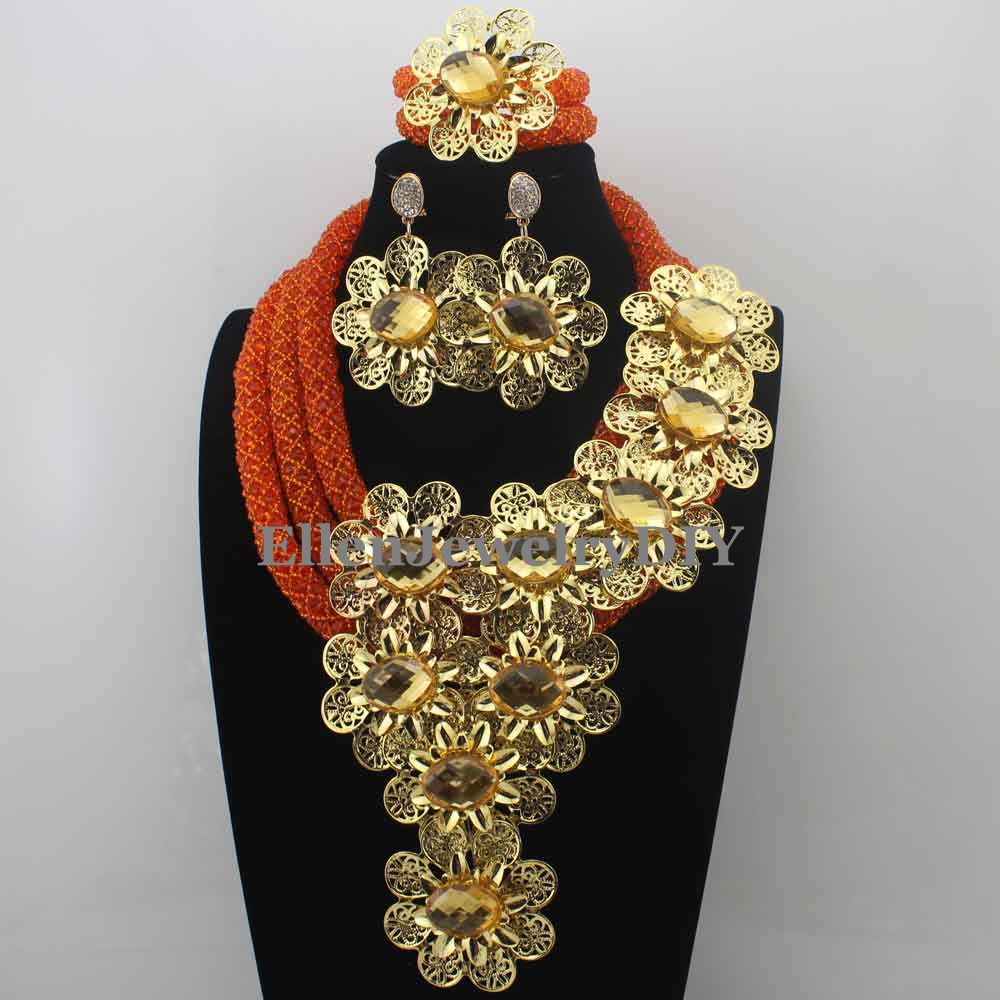 African New Crystal Nigerian Beads Statement Necklace Indian Flower Jewelry Sets for Women Free Shipping W13874 h26 free shipping new fashion heart leaf moon pendant necklace crystal necklace women holiday beach statement jewelry wholesale