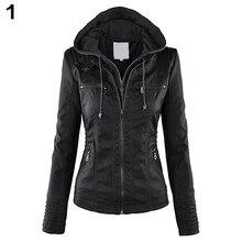 Fashion Women Convertible Collar Faux Leather Coat Detachable Hooded Jacket