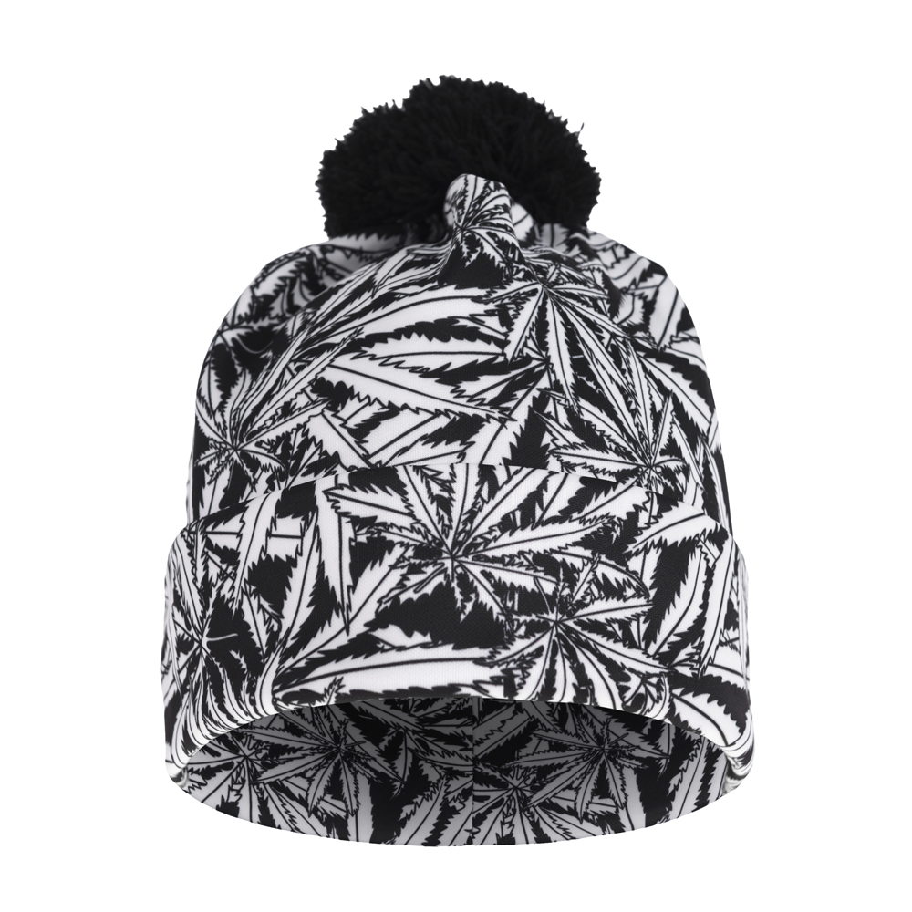 FCCEXIO 2017 New Autumn and Winter Women 3D Printed Gray weed Warm Pompon Hat Beanies Unique Colorful Nice Knitted Hat