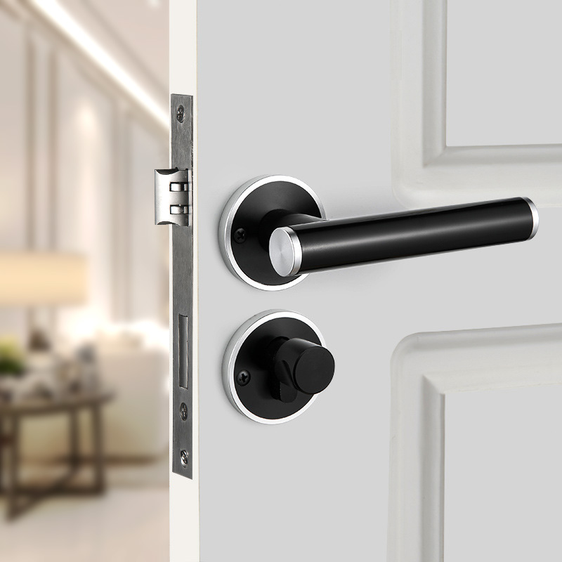 Serrure de porte fendue de chambre à coucher d'intérieur moderne, serrure mécanique de matériel de porte de chambre à coucher de poignée noire de Cadeado fendu Simple classique