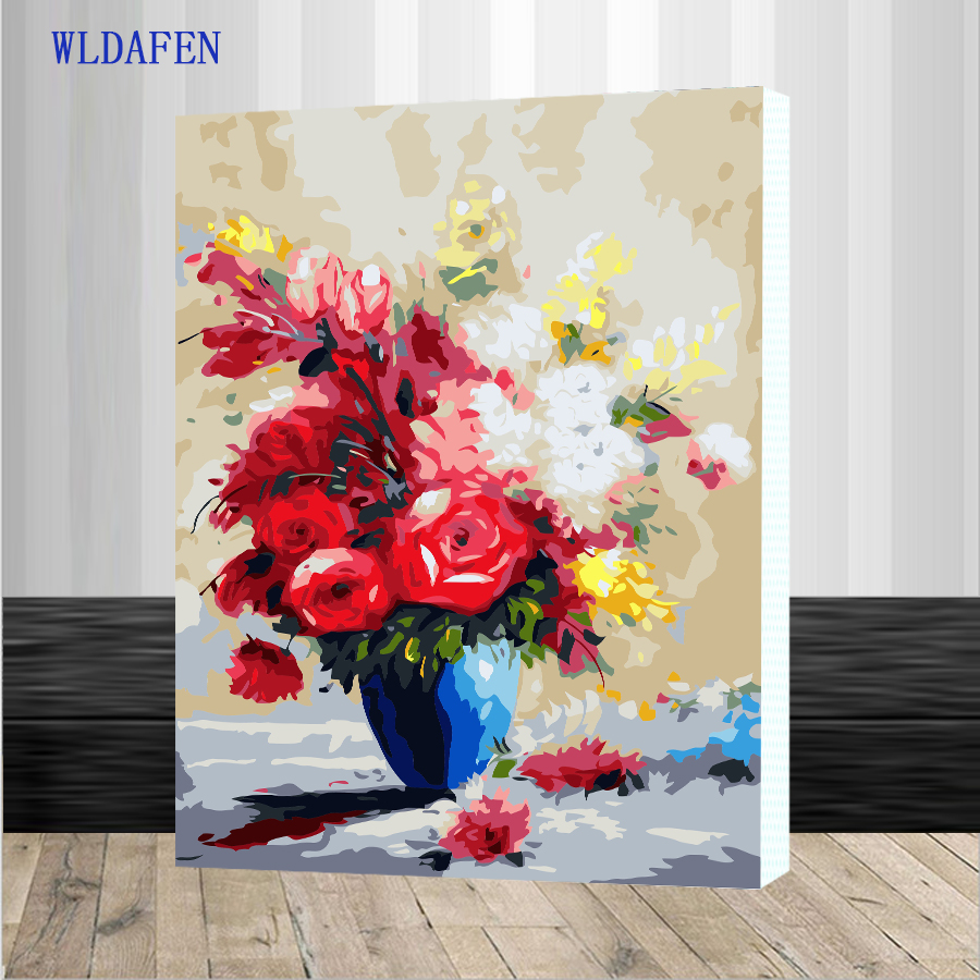 WLDAFEN Framed DIY Oil Painting By Numbers Hand Painted ...