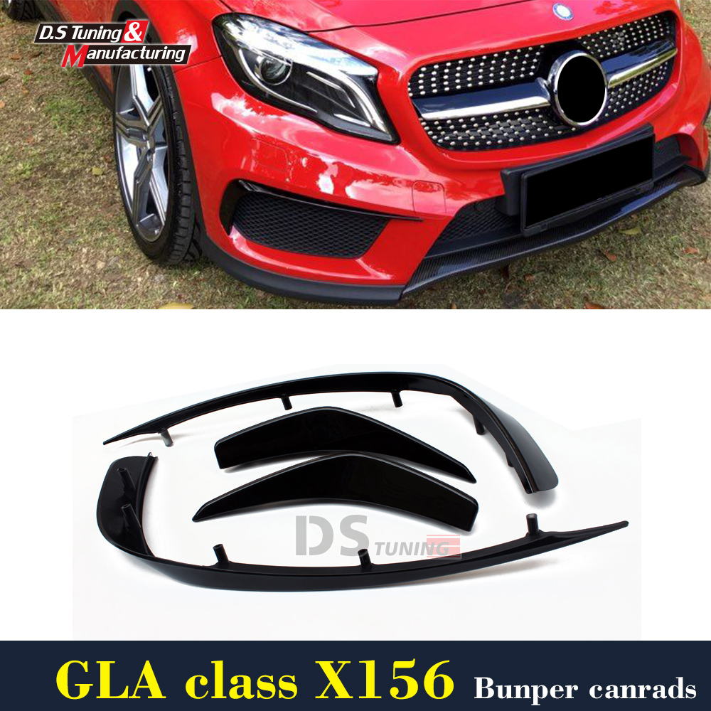 Mercedes X156 Front Bumper Canards For Benz GLA Class X156 With AMG Package Air Vent Trim 2014 - 2016 19pcs led bulb interior light kit for mercedes for mercedes benz a class w176 a160 a180 a200 a220 a260 a250 a45 amg 2013