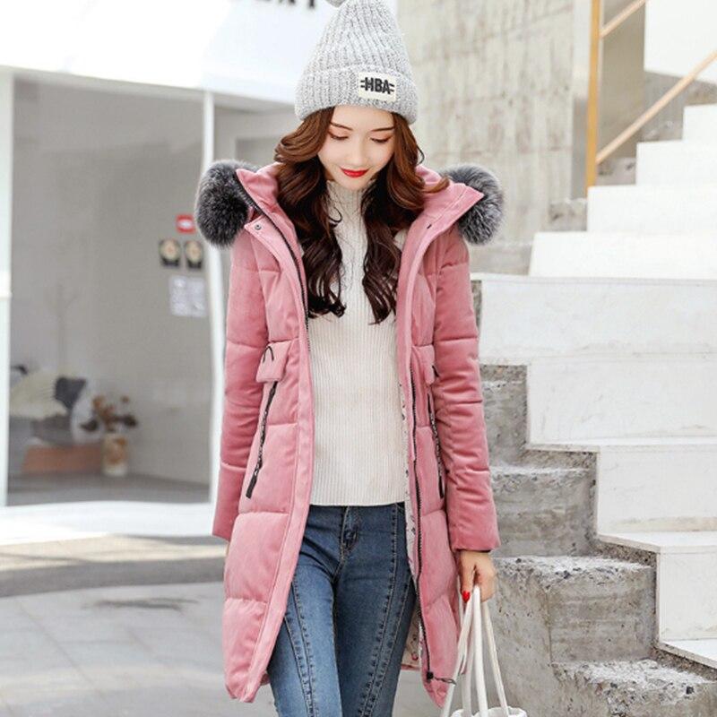 2018 D'hiver Coton Le Manteau Velours Manteaux Coréenne color Femmes Femelle Automne Veste Vestes Color Pictur Parkas Pictur As Slim Longs Vers Bas Et Parka Or Vêtements Same qwnzHtfP