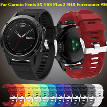 Wristband For Garmin Fenix 5X 5 5S Plus 3 3HR Forerunner 935 watch GPS 26 22 20MM Quick Release Silicone Easy fit Sport strap stainless steel quick release band buckle connector adapter for garmin fenix 5 5x 5s fenix3 3hr forerunner 935 22mm 20mm 26mm