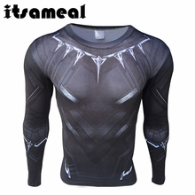 Itsameal Black Panther Cosplay Men's T-Shirt Civil War Tee 3D Printed Raglan Milk Fiber Fitness Male Crossfit Tops Long Sleeve