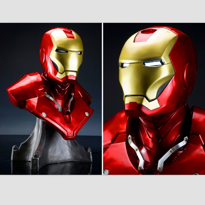 Iron Man Mk3 Mark3 Lifte Size 1/1 Bust Statue Scale Tony Strak Avengers Recast Iron Man Bust Action Figure Collectible Model 1 6 scale 30cm the avengers captain america civil war iron man mark xlv mk 45 resin starue action figure collectible model toy
