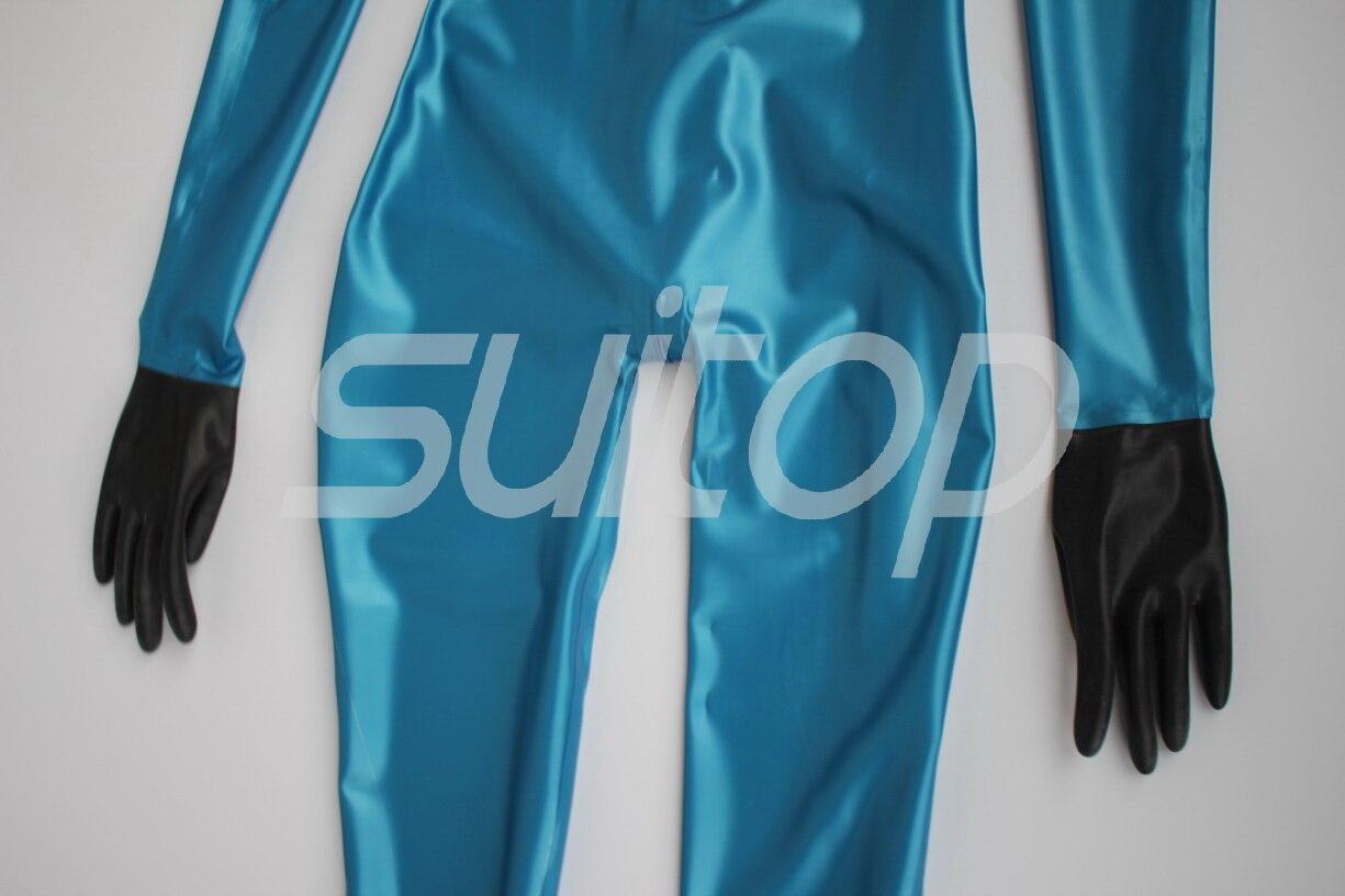 ArrivéSexy Latex Metallic Blue Catsuit Gants Nouveau WD2YH9EI