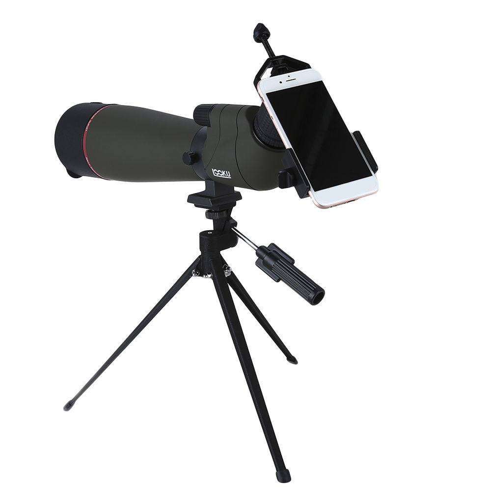 LOOKU 20-60x80 Spotting Scope Telescope Zoom Precision MAK Bak4 Waterproof Phone Holder For Hunting Bird Waching brand gomu 20 60x60 hd zoom high quality precision spotting scope telescope tripod connection mobile phone adapter bird watchin