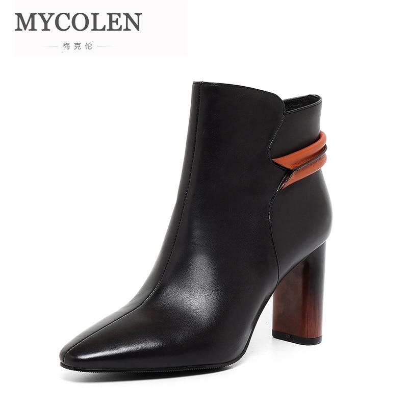 MYCOLEN 2018 marque Designer noir marque de luxe haut à la mode en cuir court rétro bout carré Chunky bottes à glissière femmes chaussures