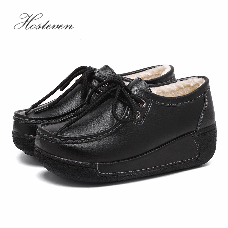 Image 3 - Hosteven Women Shoes Loafers Sneaker Genuine Leather Flats Moccasins Summer Autumn Winter Female Casual Ladies Plush Footware-in Women's Flats from Shoes