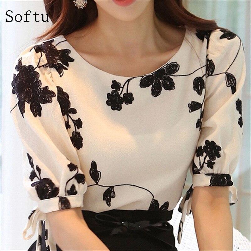 Softu женская мода рубашка блузка летние топы шифон повседневная рубашка о шея половина рукава цветочный печати женский blusas clothing