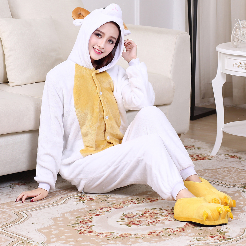 Cute Sheep Kigurumi Animal Onesies For Adult Men Winter One-Piece Pajamas Halloween Party Jumpsuit Soft Flannel Cosplay Costume (7)