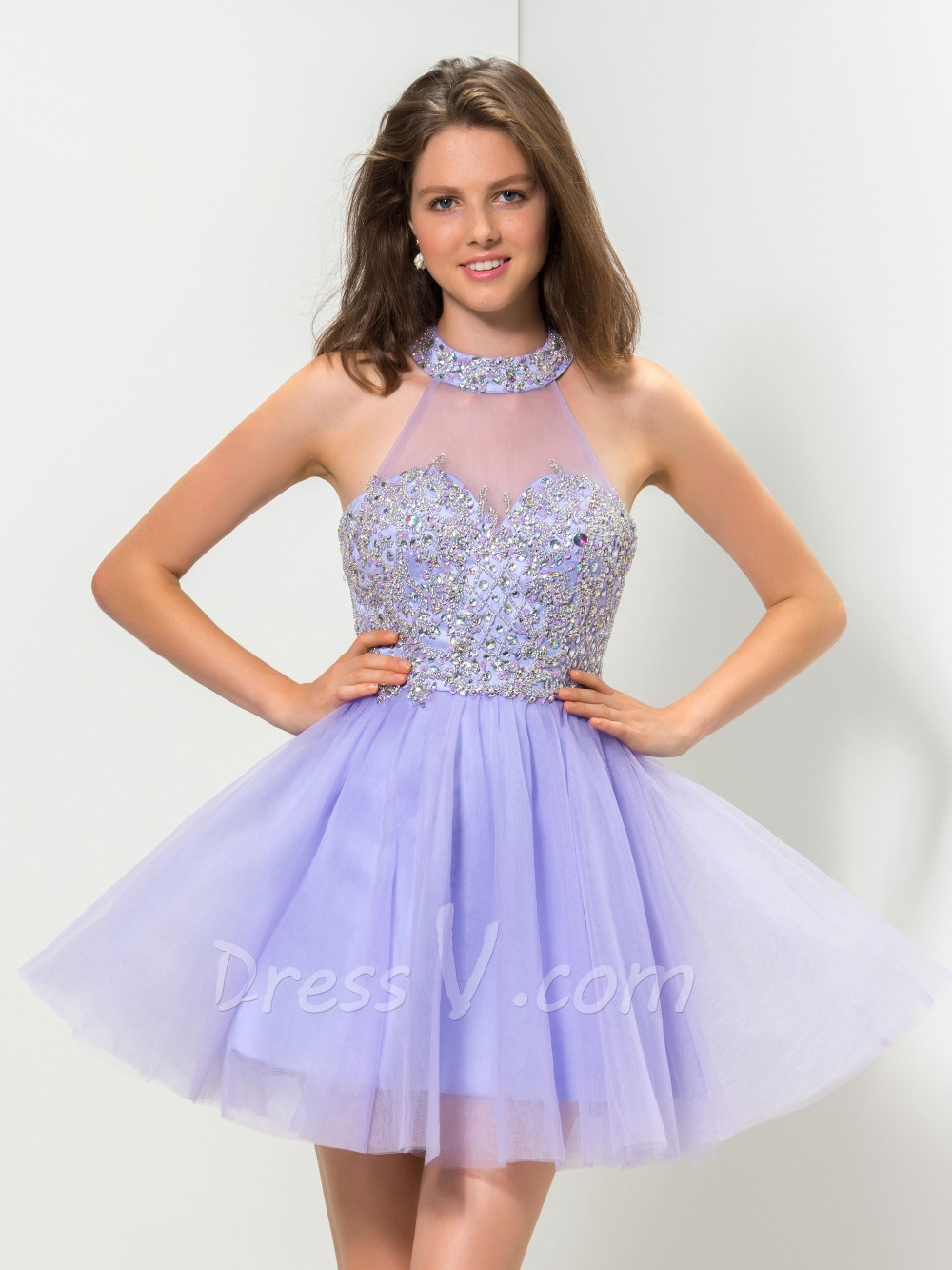 Aliexpress.com : Buy Real Photo Elegant Lilac Cocktail Dresses A ...