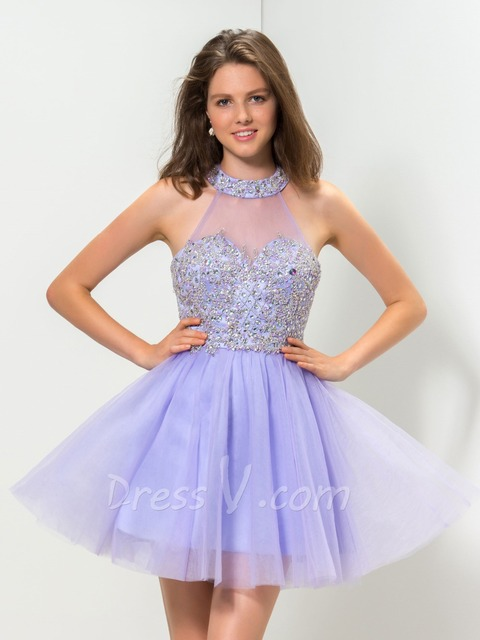 386a2a86e5 Real Photo Elegant Lilac Cocktail Dresses A-line Halter Fancy Beaded Top  Vestido De Coctel Homecoming Dresses Party Gowns