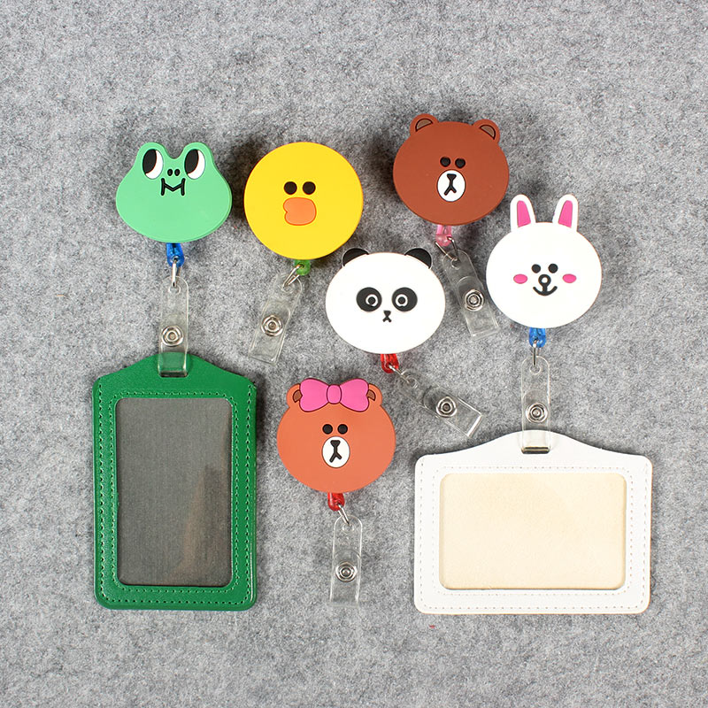 Colors Cute Frog Retractable Badge Holder Clip Id Card Holder Cartoo Porta Badge Reel Name Badge PU Business Card Badge Holder