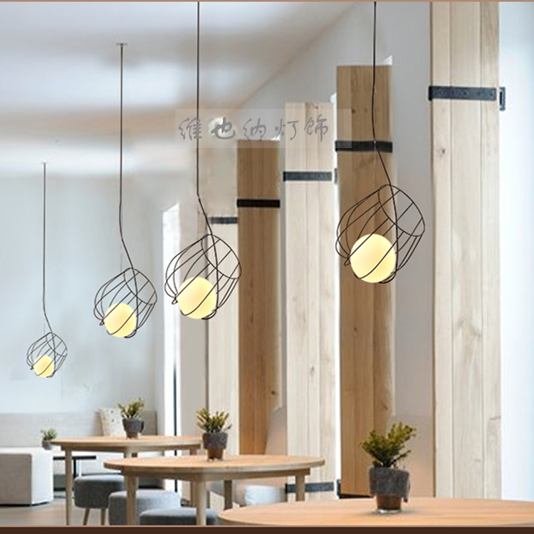 iron industry wind style pendant lights Nordic simple retro loft creative personality Bar Cafe Bar single heads pendant lamp ZA