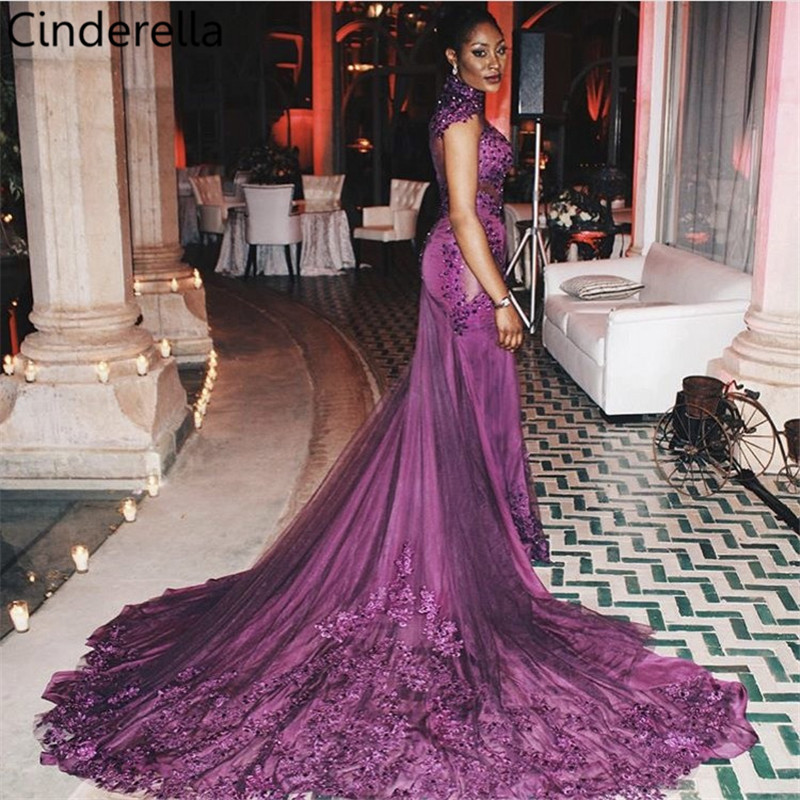 Cinderella High Neck Long Sleeves Lace Applique Pearl Beaded Court Train Sheer Back   Evening     Dresses   vestidos de fiesta de noche