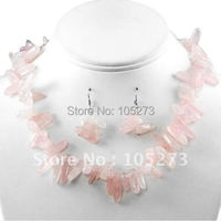New Polished Pink Quartz Chunky Choker Necklace Set Costume Jewelry 18inch Fashion Jewelry Wholesale New Free Shipping