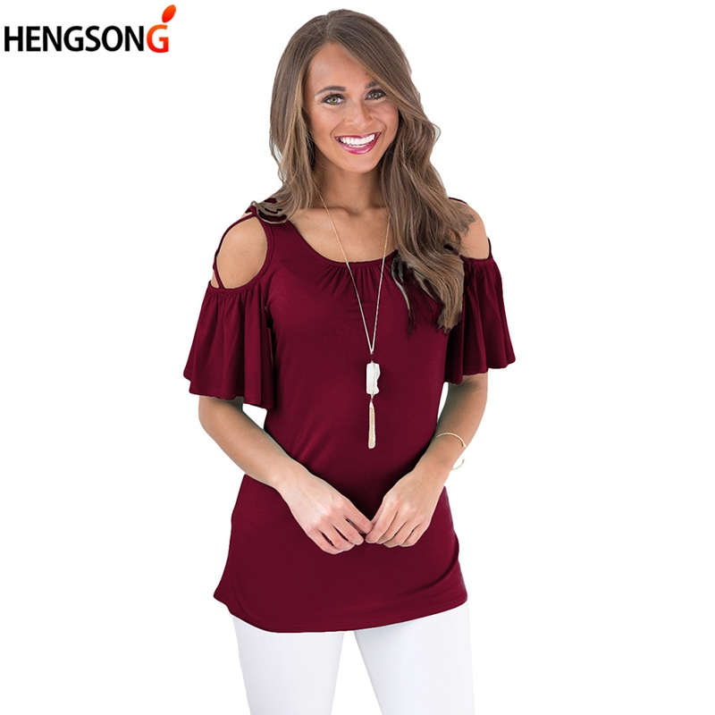New Female Off Shoulder T-shirt summer Female tshirt solid o neck Buttryfly Sleeve t shirt casual women tops Tees