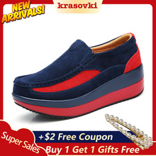 Krasovki Women Casual Platform Shoes Slip on Creepers Sneakers moccasins Suede Loafers new sneakers Leather Flats