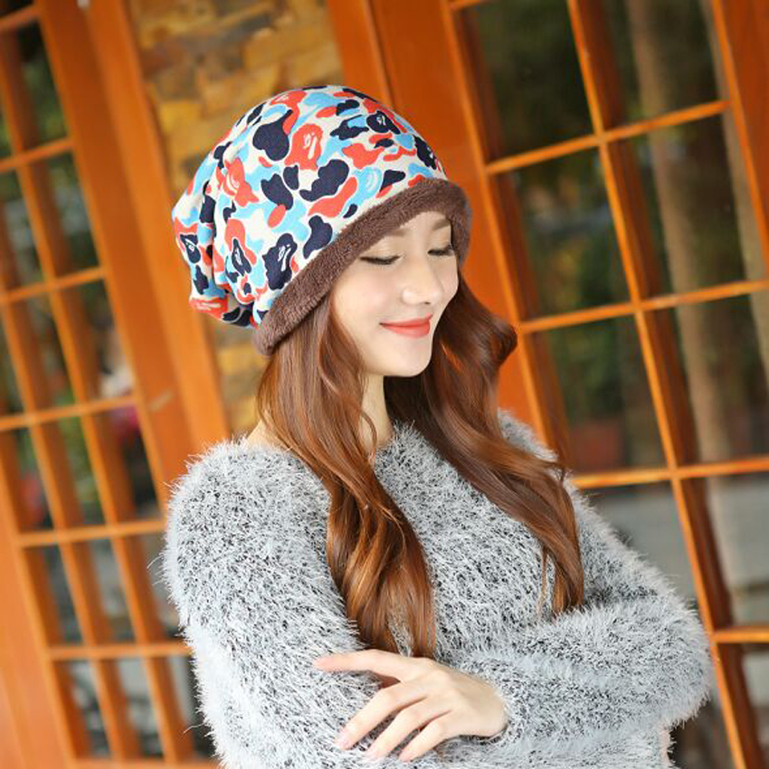 Hot Sell Winter Warm Knitted Cap Camouflage Cotton Fashion Skullies Thicken Skullies Beanies Hats For Women 2 Style 8409