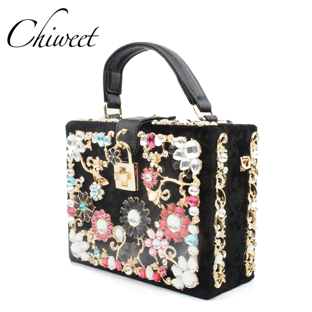 Luxury Women Diamond Evening Bag Designer Handbags Colorful Flower Clutch  Box Ladies Messenger Shoulder Bags Tote
