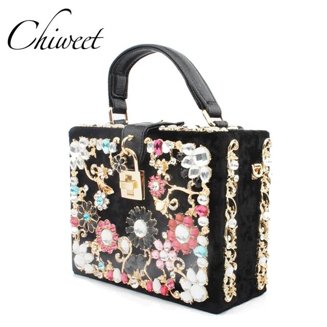 Luxury Women Diamond Evening Bag Designer Handbags Colorful Flower Clutch Box Las Messenger Shoulder Bags Tote Party Purse