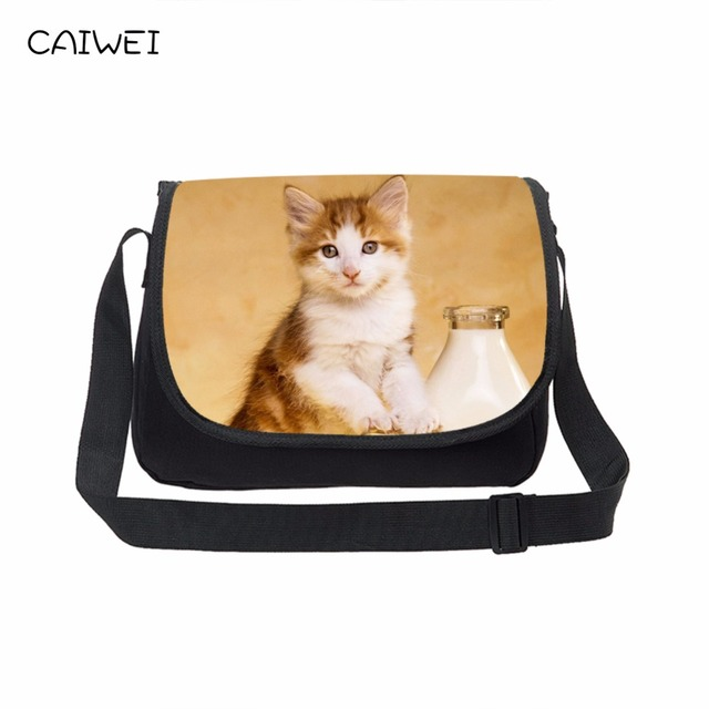 Women Travel Crossbody Bag S Cute Canvas Messenger Cat Animal Print Large Capacity School Laptop