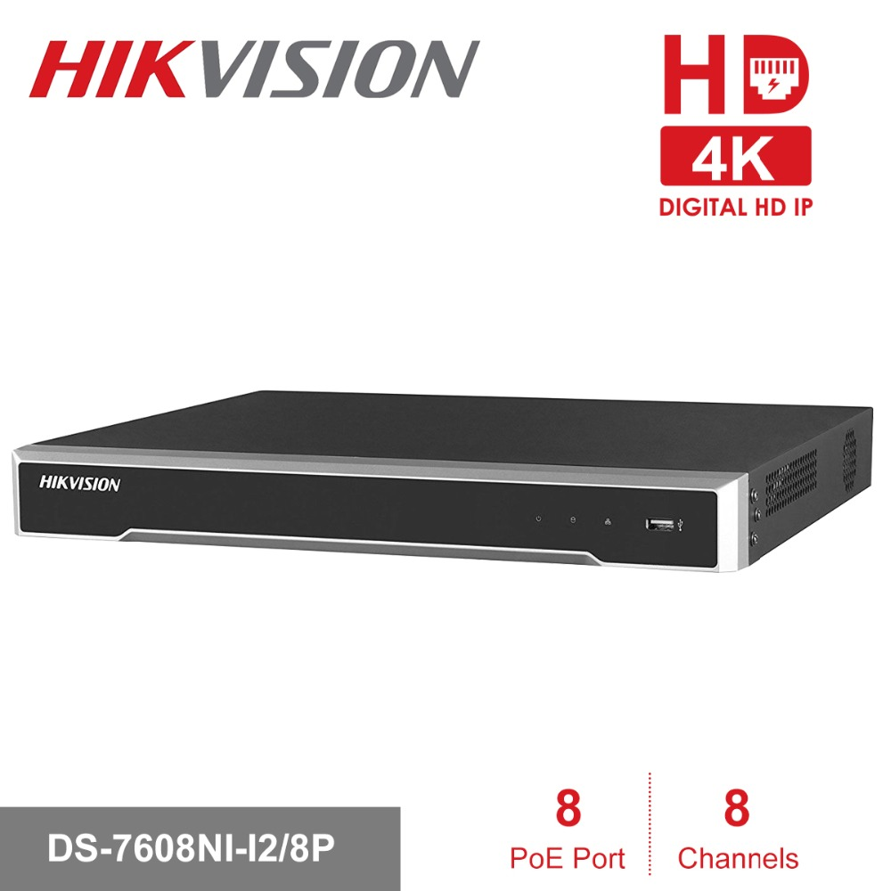 Hikvision 8ch CCTV Recorder PoE NVR DS-7608NI-I2/8P 8 Channel Embedded Plug&Play 4K Network Video Recorder with 8 PoE Port H.265 4pcs hikvision surveillance camera ds 2cd2155fwd i 5mp h 265 dome cctv ip camera hikvision nvr ds 7608ni i2 8p 8ch 8ports poe