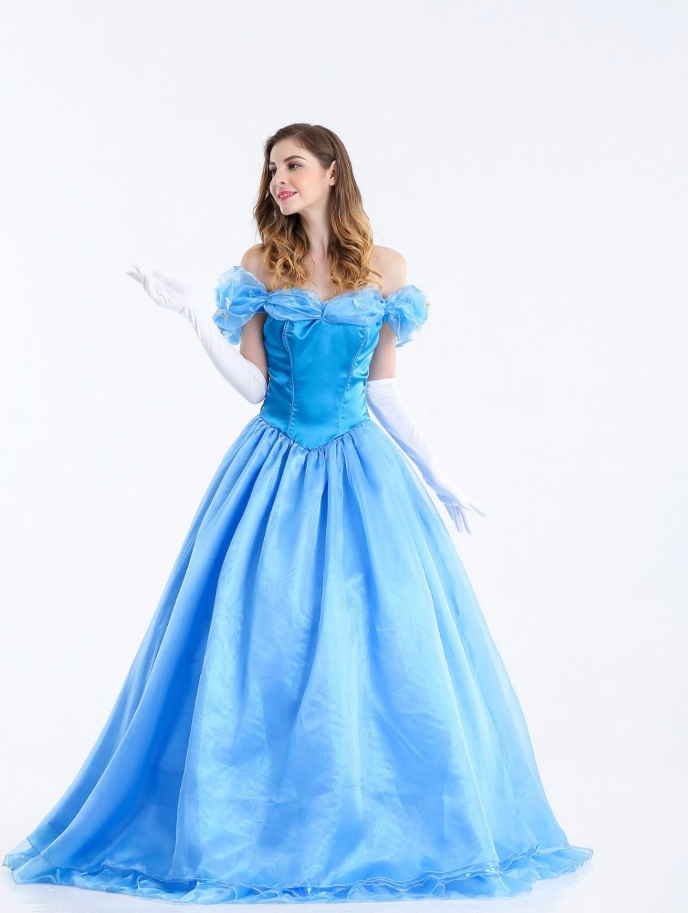 Adult Women\'s Sandy Princess Cinderella Blue Dress Ladies Cosplay ...